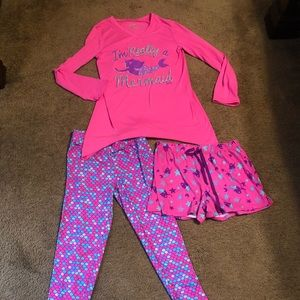 Justice girls mermaid PJs 3 pc set, size 12